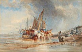 Thomas Sewell Robins<BR>Küstenlandschaft mit Fischern, die ihr Boot entladen