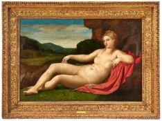 Jacopo Negretti, gen. Palma Vecchio<BR>Liegende Venus in einer Landschaft