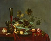 Abraham Susenier<BR>Früchtestillleben mit Weintrauben, Pfirsichen, Blumen, einer Zitrone und einer A