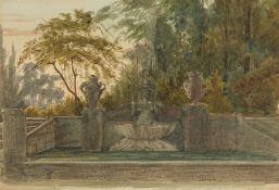 Ernst Ferdinand Oehme, zugeschrieben<BR>Brunnenanlage in einem Park