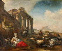 Jan Baptist Weenix<BR>Schäfer und Herde vor antiken Ruinen