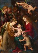 Meister der Stockholm Pieta<BR>Die Mystische Vermählung mit dem hl. Johannes und Engeln