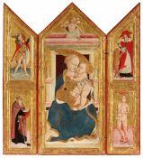 Umbrischer Meister um 1455/1460<BR>Triptychon - Thronende Muttergottes mit Kind und Auferstehung Chr