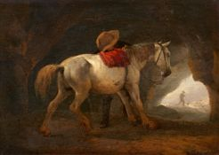 Philips Wouwerman<BR>Weißes Pferd und Mann in einer Felsgrotte