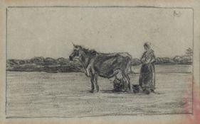 Jean François Millet, zugeschrieben<BR>Bäuerin mit einer Kuh in flacher Landschaft