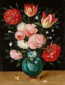 Jan Brueghel d. J.<BR>Rosen- und Tulpenstrauß in einer chinesisischen Porzellanvase auf einem Goldfu