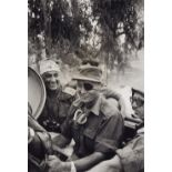 Micha Bar-Am, General Ariel Sharon and Moshe Dayan. After the Sabra and Shatila massacre. (R)