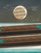 Max Ernst<BR>Mer agitée, soleil, nuage et maître Corbeau avec son fils