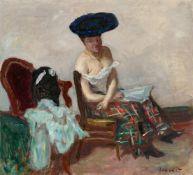 Pierre BonnardLe jupon écossais (Le modèle au grand chapeau)