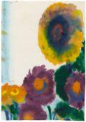 Emil Nolde<BR>Blaue Astern und Sonnenblume