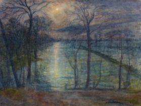 Otto Modersohn<BR>Mondnacht (Atelierblick nach Osten)