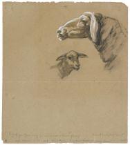 Franz Marc<BR>Schafzeichnung I. Verso: Schaf und grosses Schema eines Kuhkopfes