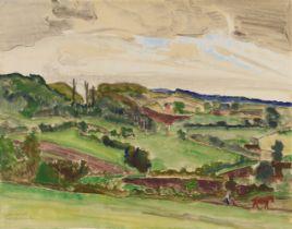 Erich Heckel<BR>Landschaft mit Ackerndem