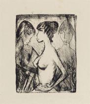 Otto Mueller<BR>Mädchen Halbakt im Profil (vor einem Bild)