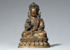 Figur eines Guanyin. Bronze. Tibetochinesisch. 18. Jh.