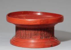 A Burmese wood and lacquer stand (daung lan) 20th century