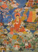 Thangka mit der Darstellung der Herabkunft des Buddha aus dem Tushita-Himmel. Tibet. Um 1900