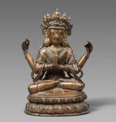 Avalokiteshvara Shadakshari. Bronze. Tibet. 16./17. Jh.