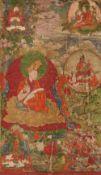 Seltenes Set von sechs Thangkas mit Darstellungen des Ersten Panchen Lamas und seiner früheren Inkar