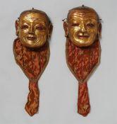 Paar Ritual-Tanzmasken. Bronze, vergoldet. Tibet