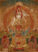 Thangka des elfköpfigen und tausendarmigen Avalokiteshvara. Tibet. 18./19. Jh.