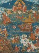 Thangka der 18 Luohan und ein Chablu-Wasserfläschchen. Tibetochinesisch. Spätes 19. Jh.