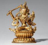 Manjushri. Feuervergoldete Bronze. Tibet. Spätes 19. Jh./frühes 20.
