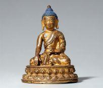 Buddha Vajrasana. Feuervergoldete Bronze. Tibet. 15./16. Jh.