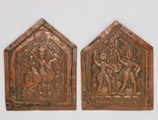 Zwei Relieftafeln. Kupferblech, getrieben. Zentral-Indien, Maharashtra. 19./20. Jh.