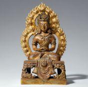 Buddha Amitayus. Feuervergoldete Bronze. Qianlong-Periode, inschriftlich datiert 1770