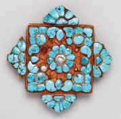 Rechteckiger Amulettbehälter (ga´u). Goldblech und Kupfer. Tibet