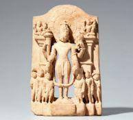 Kleine Stele des Vishnu. Heller Sandstein. Indien. 11. Jh.