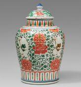 Großer wucai-Deckeltopf. Shunzhi-Periode (1644–1661)