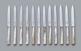 Seltener Satz von zwölf Régence-Messern