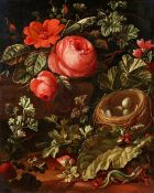 Elias van den Broeck, Forest Floor Still Life with Roses, a Bird's Nest, Lizards, Grasshoppers and S