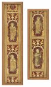 Two embroidered pillar decorations