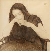 Walter Sauer, Sinnende oder schlafende Frau auf einem Stuhl