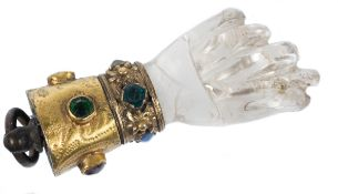 Rock crystal and gilded copper figa with precious stone cabochons. Gothic. 15th century.