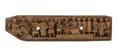 """""""The trial of Christ"""". Sculpted ivory relief. Carolingian Period. 6th - 9th century."""