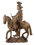 """""""Saint Martin"""". Imposing carved, polychromed and gilded wooden sculpture. Hispanic - Flemish"""
