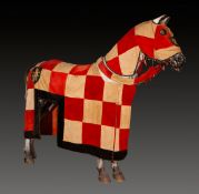 Velvet horse blanket with hood, embroidered with gold and silver thread and with a cast iron bit.