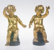 Pair of gilded bronze angels. Italy. 18th century.