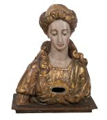 Carved, gilded and polychromed wooden reliquary. 16th century.