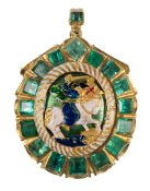 Large, gold reliquary pendant with emeralds and enamel. 17th century.