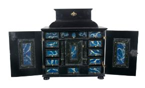 Ebonised and marbled small wooden chest. Flemish workshop.17th - 18th century.