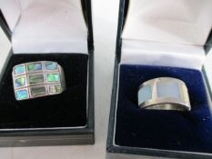Pair of silver 925 rings mother of pearl sizes p & N.