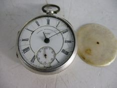 Antique silver pocket watch detached lever 30307 hallmarked , 1888 dated on back, engraved to inner,