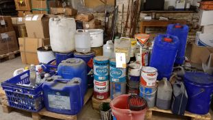 Pallet of Paint and sundries inc Oil and Grease