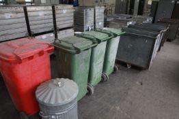 4 Wheelie Bins and galvanised dustbin
