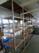 6 Bays of steel shelving 3 shelves per bay